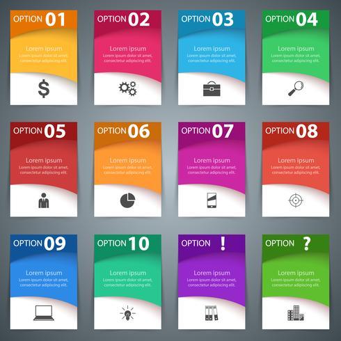 Définissez 10 objets et deux bonus. Style d'origami d'affaires infographie
