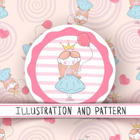 Princesa pequena bonito - padrão sem emenda