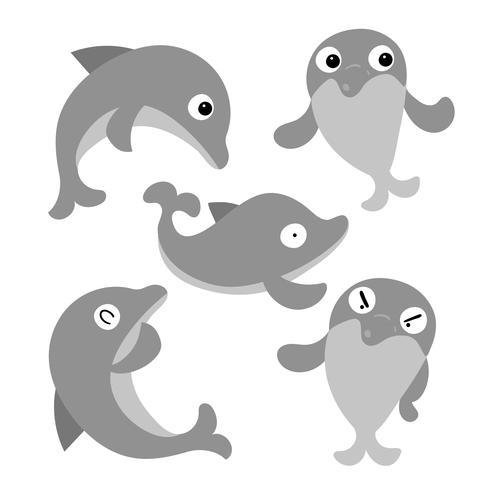 diseño de la colección de vectores de delfines