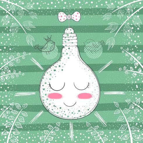 Cute princess bulb - cartoon illustration