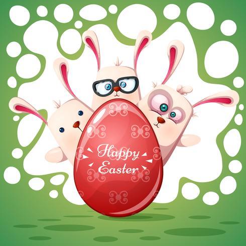 Süße Kaninchen Frohe Ostern Kostenlose Vektor Kunst Archiv