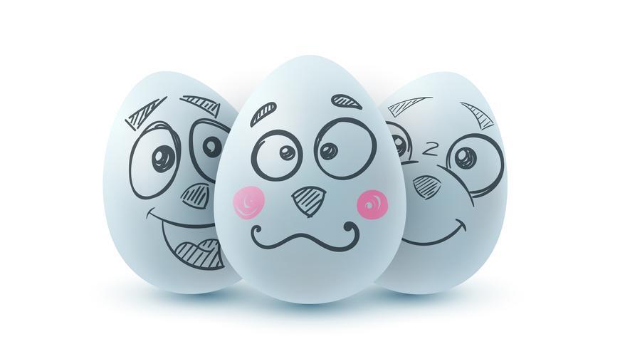 Felices Pascuas. Huevo tres en el fondo blanco. vector
