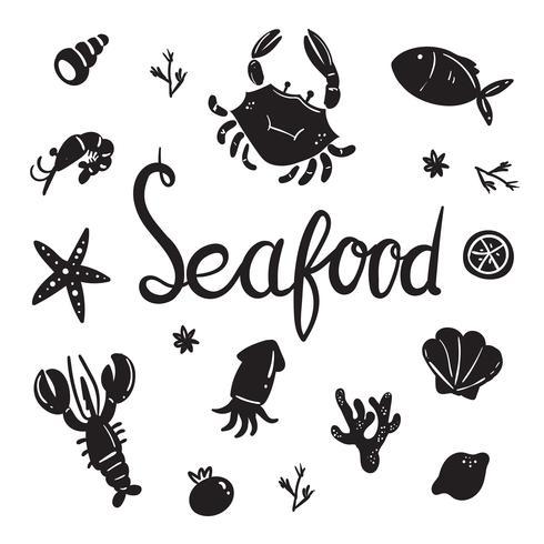 conception de collection de fruits de mer de vecteur
