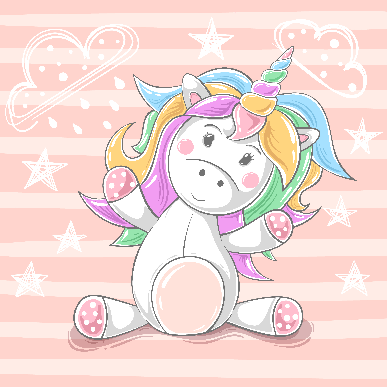 cute teddy unicorn  cartoon characters  download free
