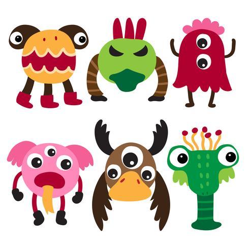 diseño de la colección de personajes monstruo vector