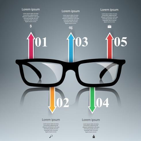 Glazen pictogram. Abstracte illustratie Infographic.