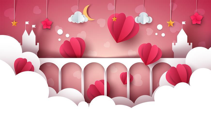 Paesaggio del fumetto di fantasia. Castello, cuore, illustrazione di amore.