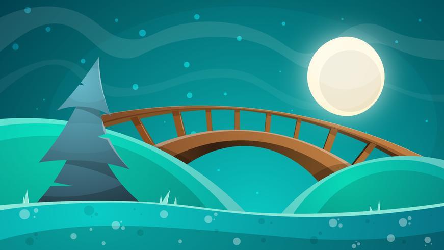 Cartoon night landscape. Moon, bridge, fir, sky illustration