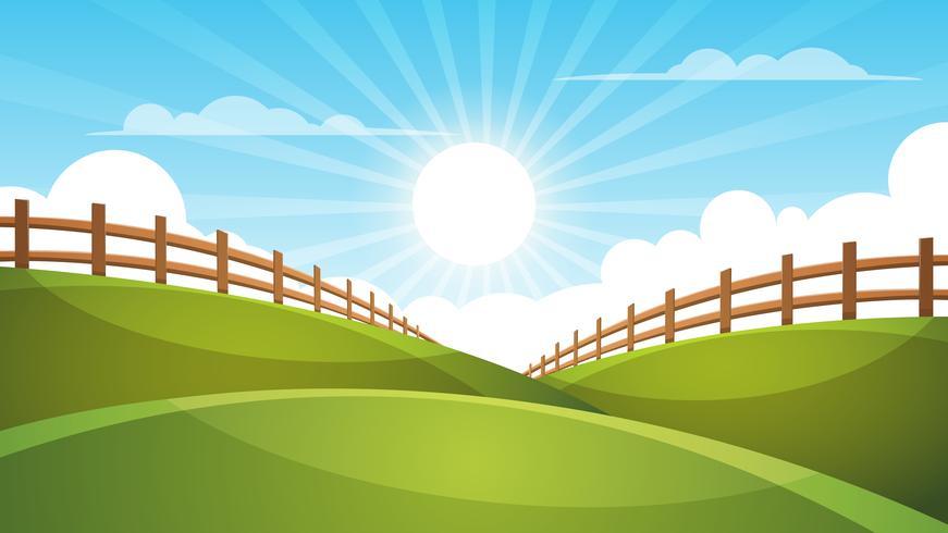 Cerca, paisagem dos desenhos animados. Sol, nuvem, ilustração do céu.
