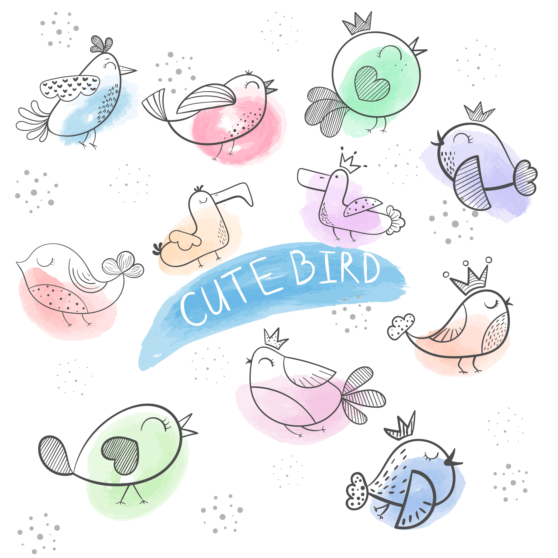 Cartoon Bird- Cute Doodle Bird.