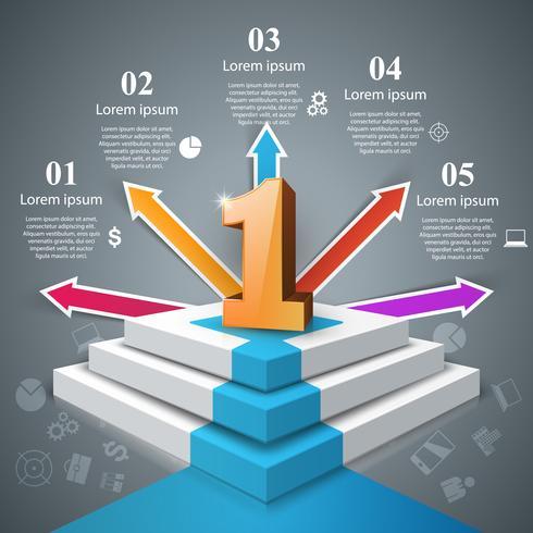 Infographics uppför stegen till framgång. En ikon. Affärssteg.