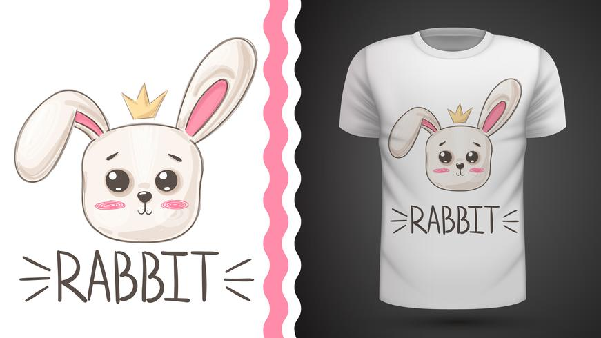 Conejo lindo - idea para imprimir camiseta. vector