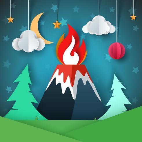 Illustrazione del vulcano Paesaggio di carta dei cartoni animati.