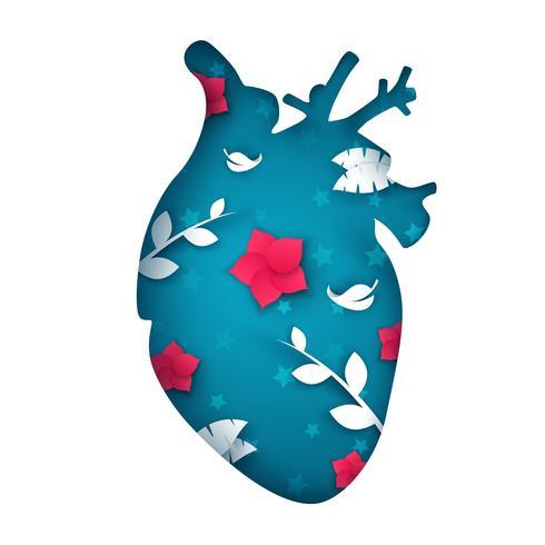 Tecknad papper hjärta illustration. Blomma, gren, löv.