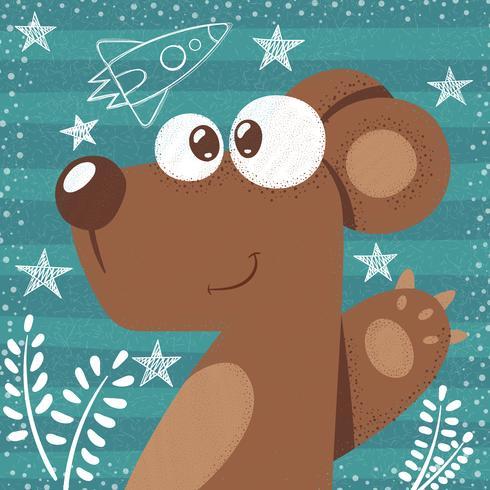 Gullig björn - söt tecknad illustration. vektor