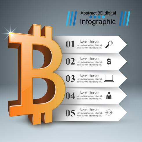 Infografía de negocios. Bitcoin, icono de dinero.