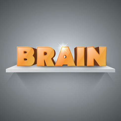 Infographics van hersenen 3d zaken op de plank.