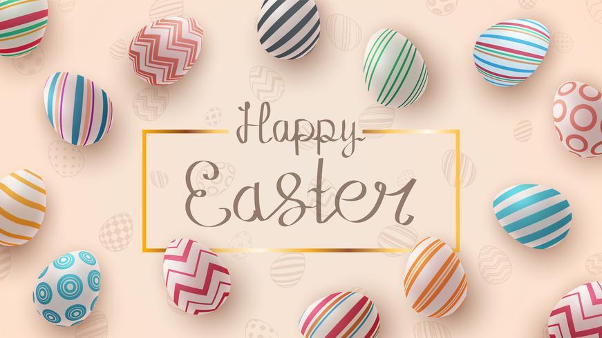 Gelukkig Pasen. Realistische eiersjabloon.