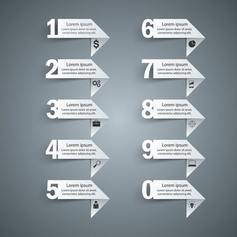 Conception infographique. Liste de 10 articles. vecteur
