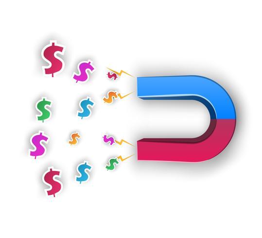 Magnet, dollar - affärs illustratör. vektor