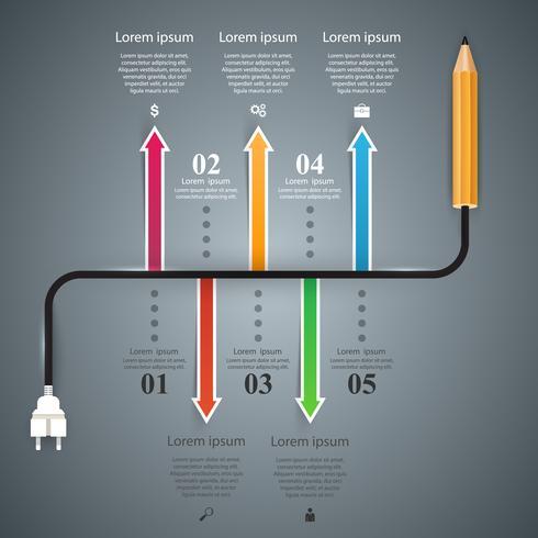 Bleistift Birne Geschäft Bildung Infographik