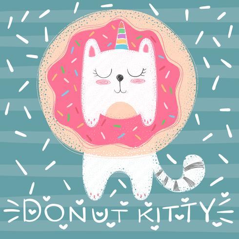 Chat licorne mignon - illustration drôle.