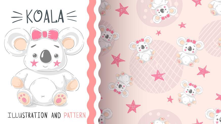 Cute teddy koala - seamless pattern