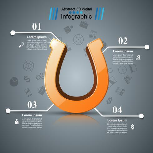 Horseshoe, vier lijn - zakelijke infographic.