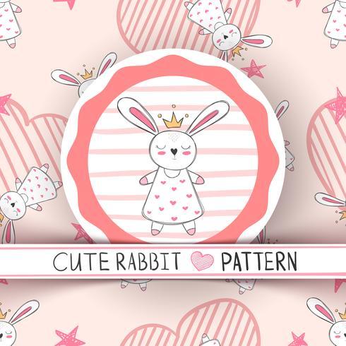 Schattige kleine prinses - konijn cartoon.
