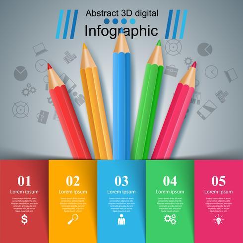 Lápis, ícone da educação. Infográfico de negócios.