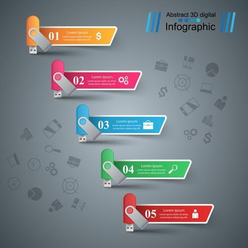 Usb flash, escalera, escalera - infografía de negocios. vector