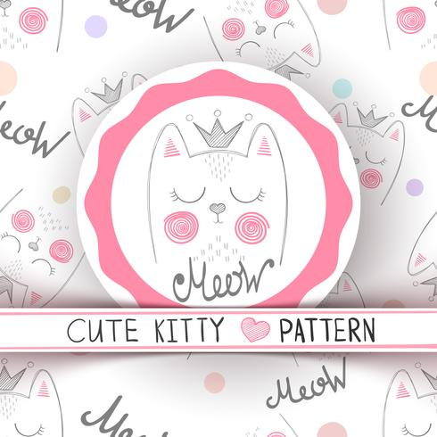 Cute little princess - seamless pattern