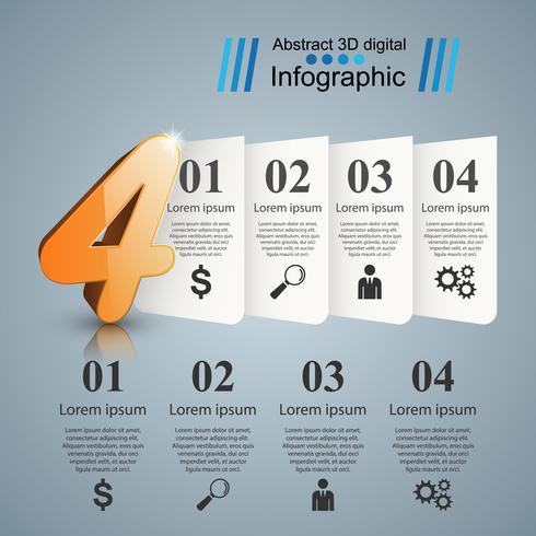 Resumen cuatro ilustración digital 3D infografía.