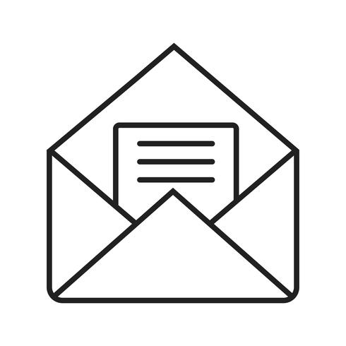 Enveloplijn zwarte pictogram
