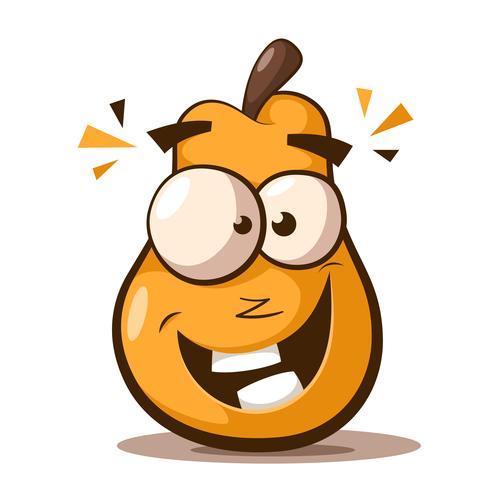 Cute, funny pear cartoon characters.