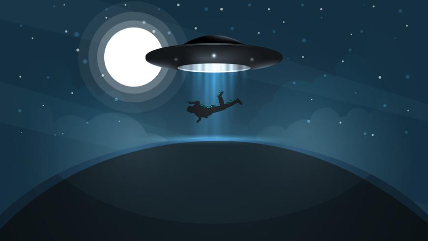 UFO kidnapt een persoon - cartoon illustratie