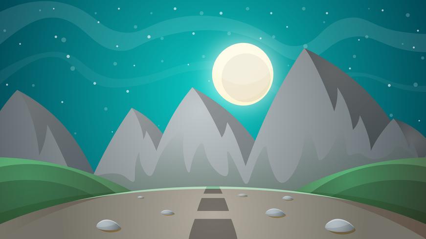 Paisagem de noite dos desenhos animados. Cometa, lua, ilustração de abeto de montanhas