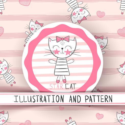 Gato lindo - patrón inconsútil de dibujos animados