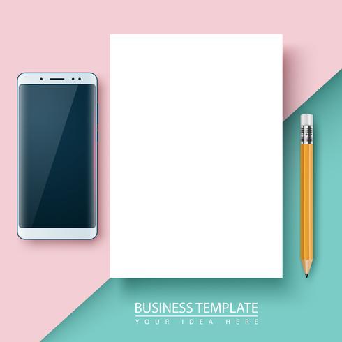 Zakelijke sjabloon. Papier, smartphone, pen