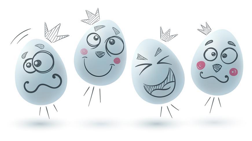 Gelukkig Pasen. Drie eieren op de witte achtergrond.