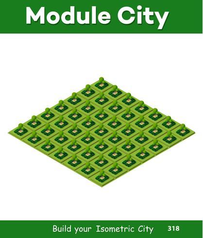 Parque isométrico 3d con un verde