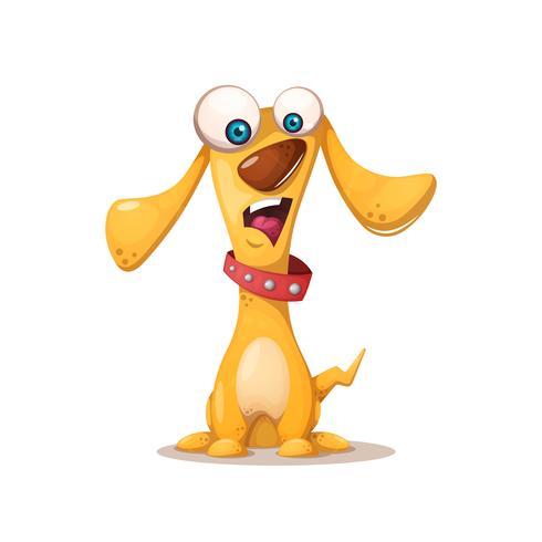 Gullig hund illustration. Galna djur.