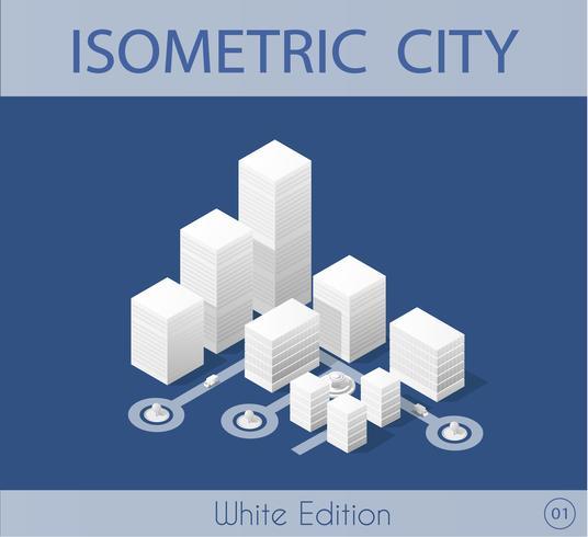 La ciudad isométrica con rascacielos.