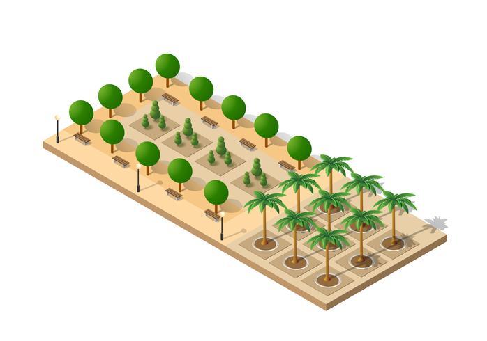 Parque isométrico en 3D