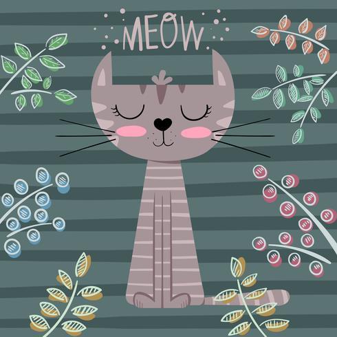 Cute princess cat cartoon illustration.