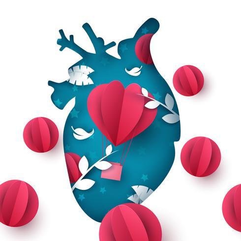 Älska ballonglandskapet. Medicinsk hjärta illustration. vektor