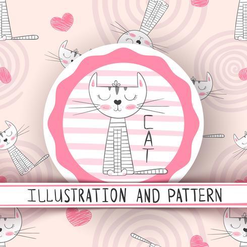 Cute cat - cartoon seamless pattern