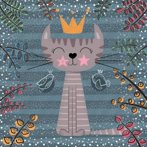 Leuke prinses kat cartoon afbeelding. vector