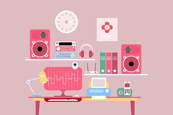 Work Desktop vektor illustration