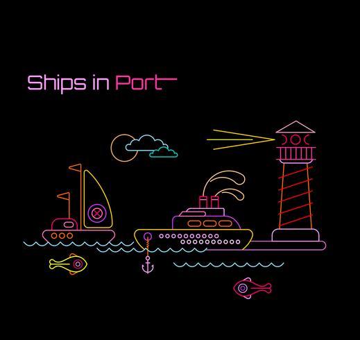 Schepen in de haven vectorillustratie